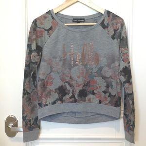 "Floral Gray Long-sleeved Sweatshirt saying ""Hello"""